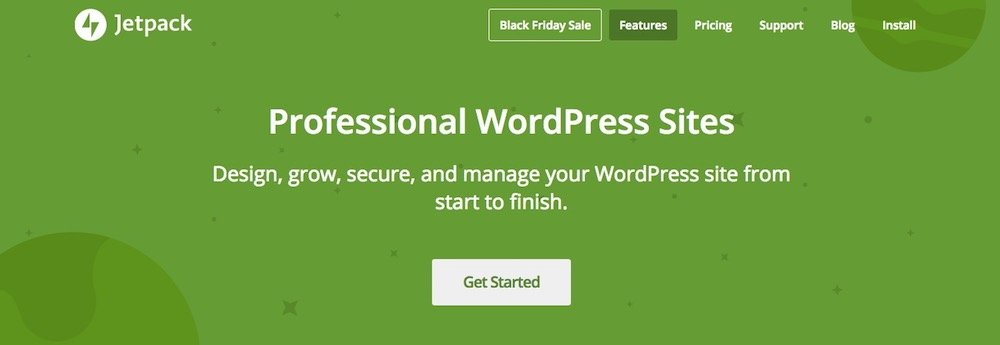 Homepage di Jetpack, il plugin sviluppato da Automattic