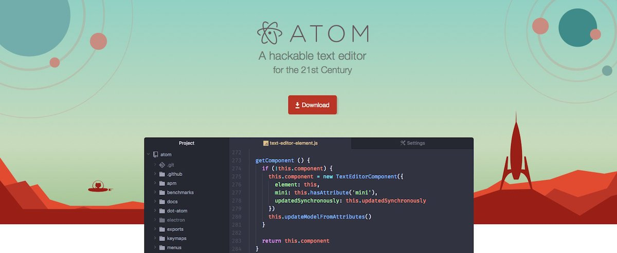 Homepage di Atom dove puoi scaricare questo editor di codice