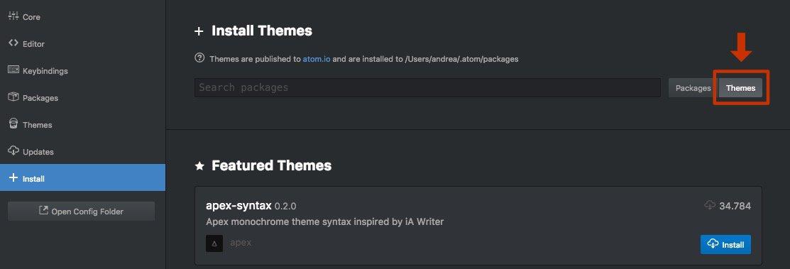 Installa il tema che preferisci per l'interfaccia e il codice del tuo Atom