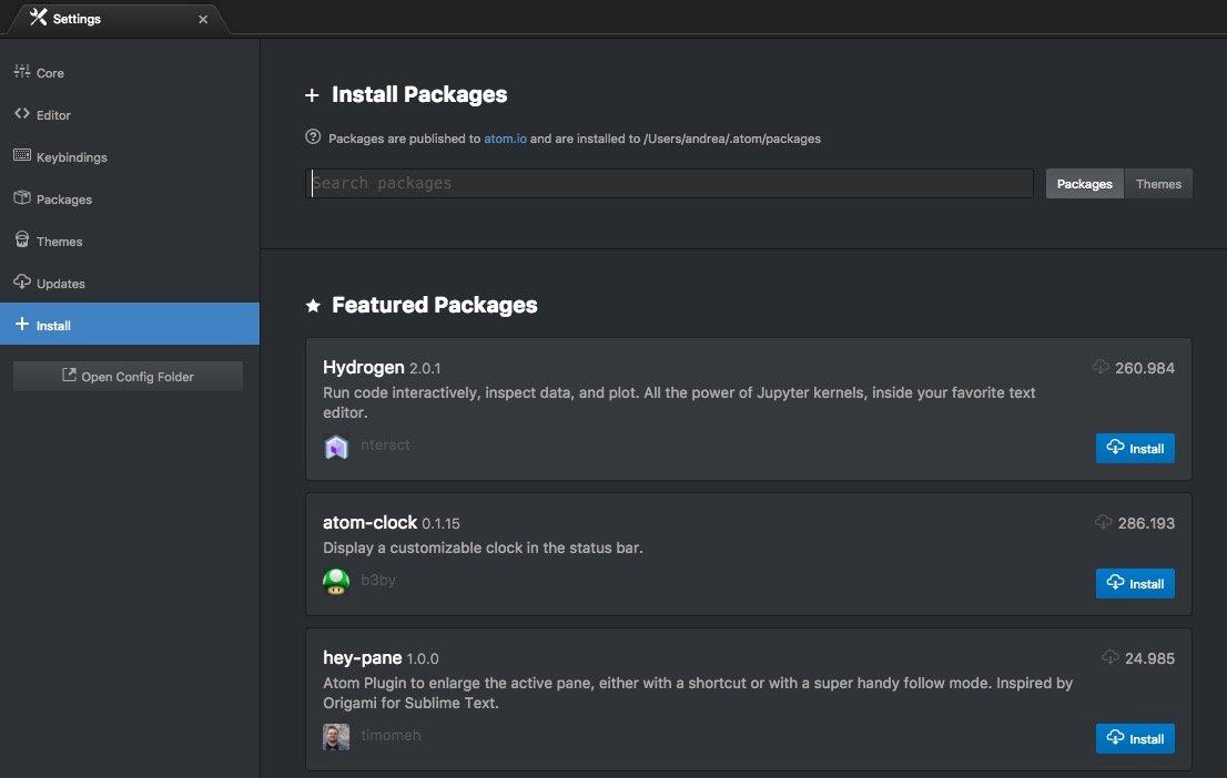 La schermata che ti permette di installare i Packege di Atom