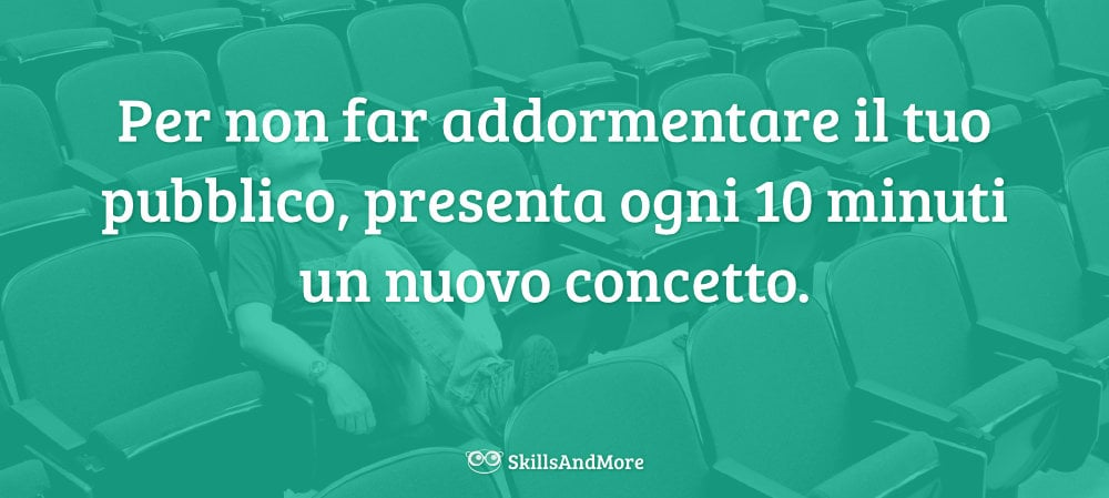 Per non far addormentare il tuo pubblico, presenta ogni 10 minuti un nuovo concetto.