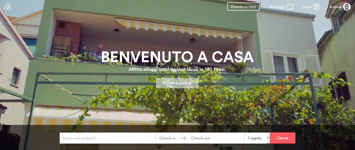 La homepage di airbnb