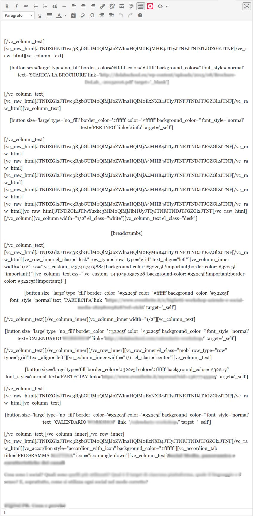 I page builder che usano shortcode rendono più complesso modificare il testo