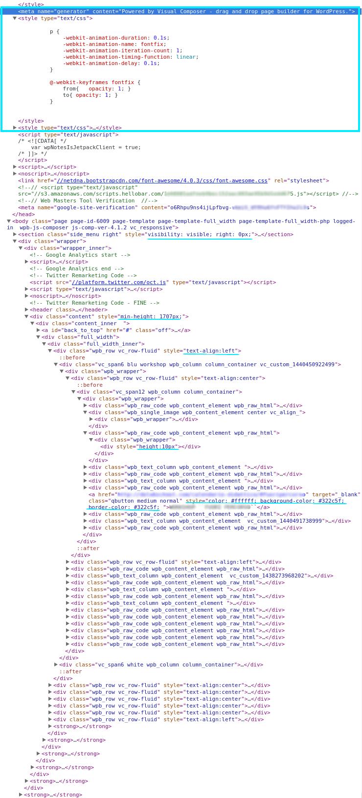 Il codice HTML generato da un page builder è incredibilmente complesso