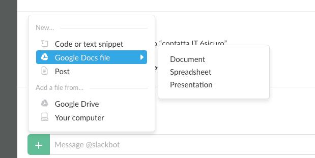 Crea un Google Doc con Slack