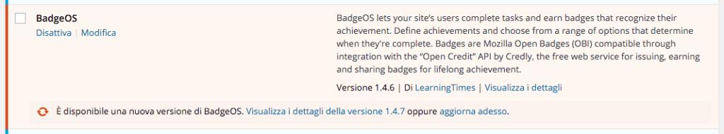 Notifica di aggiornamento plugin dalla dashboard WordPress