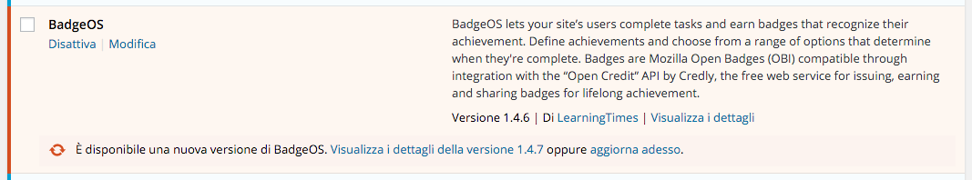 Notifica di aggiornamento plugin dalla dashboard WordPress