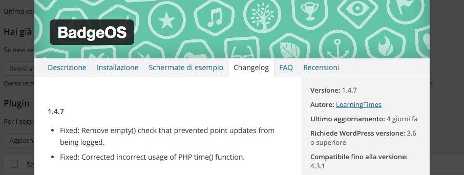 Consulta il changelog di un plugin dalla dashboard WordPress