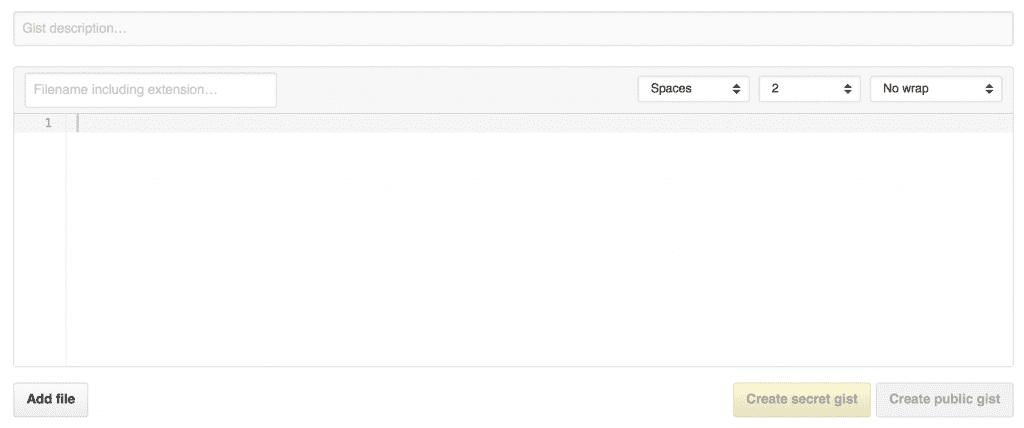 Condividi il tuo codice su Gist GitHub