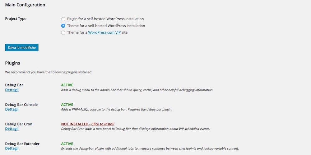 Schermata plugin developer per creare temi WordPress