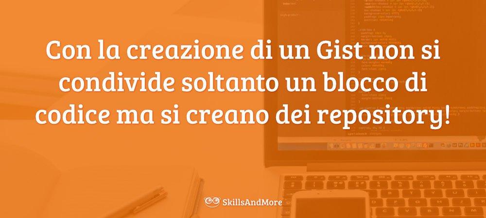 Creando un Gist si crea un repository da poter aggiornare