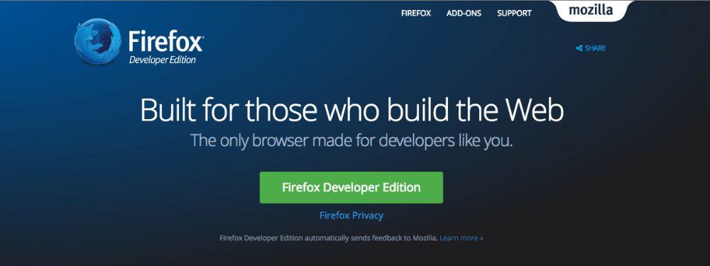 Scarica l'ultima versione del browser Firefox Developer Edition