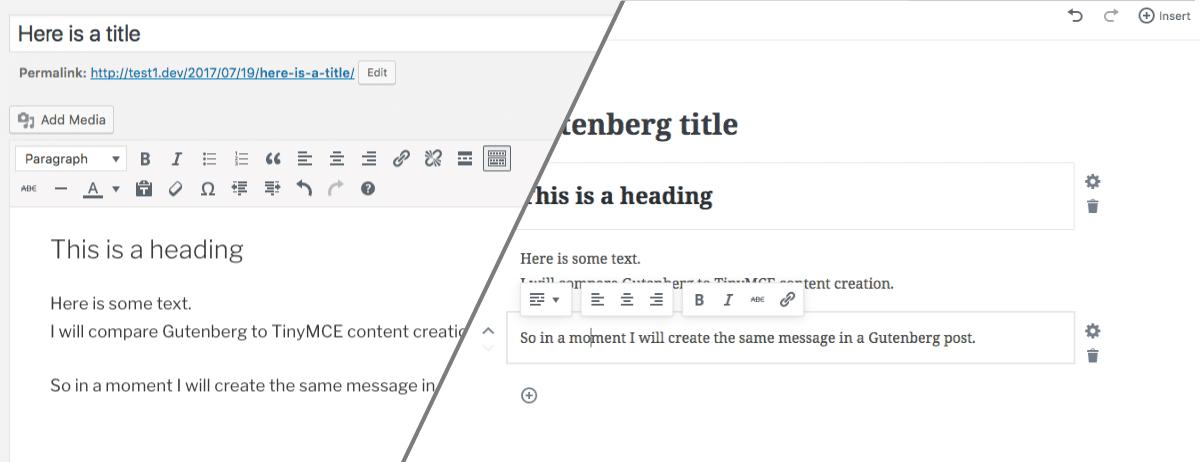 Confronto della UX tra TinyMCE e Gutenberg, il nuovo editor WordPress
